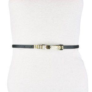 BCBG Bow Black Gold Faux Leather Belt